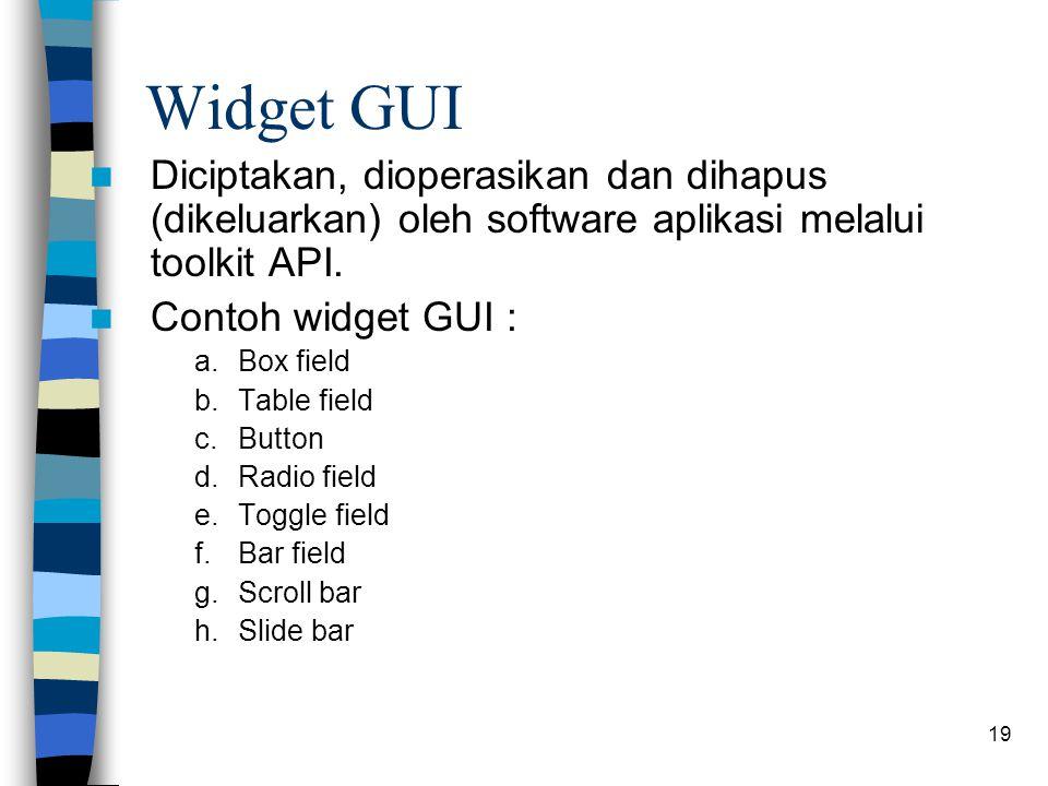 Widget GUI Diciptakan, dioperasikan dan dihapus (dikeluarkan) oleh software aplikasi melalui toolkit API.