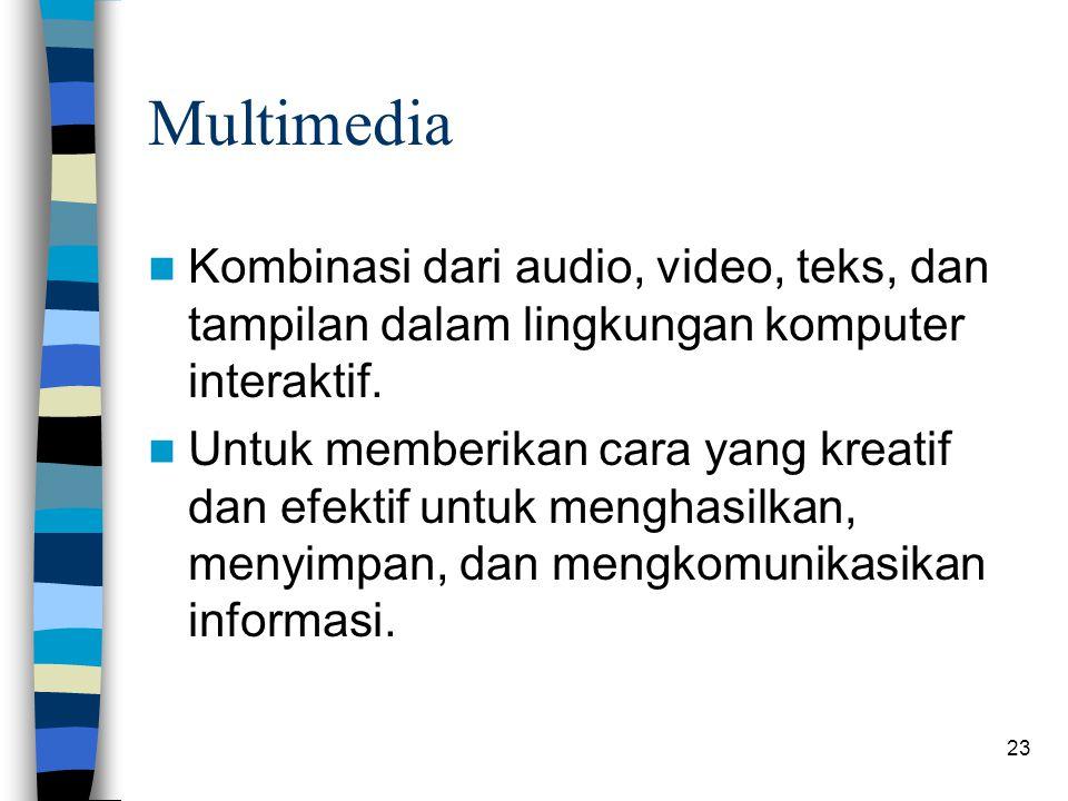 Multimedia Kombinasi dari audio, video, teks, dan tampilan dalam lingkungan komputer interaktif.