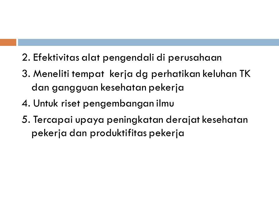 2. Efektivitas alat pengendali di perusahaan 3