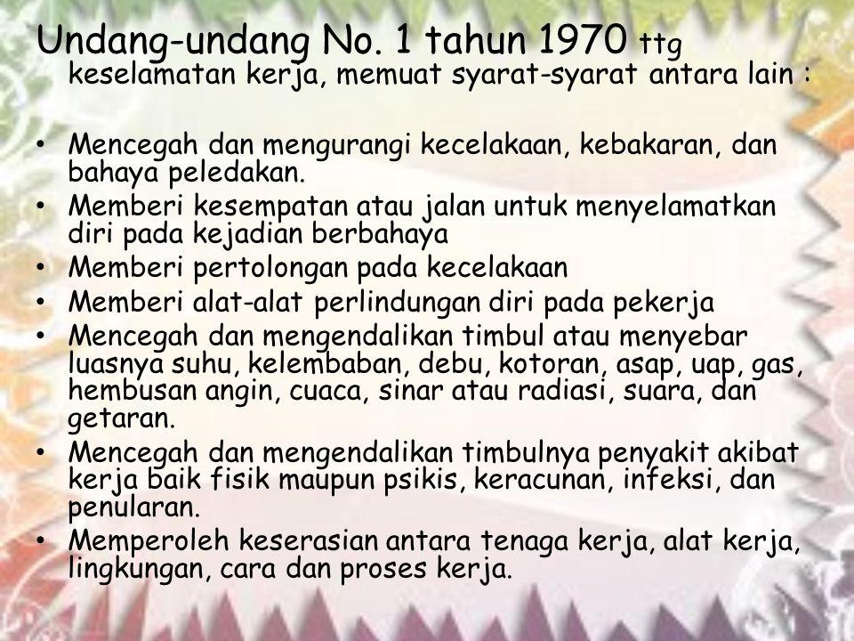 Undang-undang No. 1 tahun 1970 ttg keselamatan kerja, memuat syarat-syarat antara lain :
