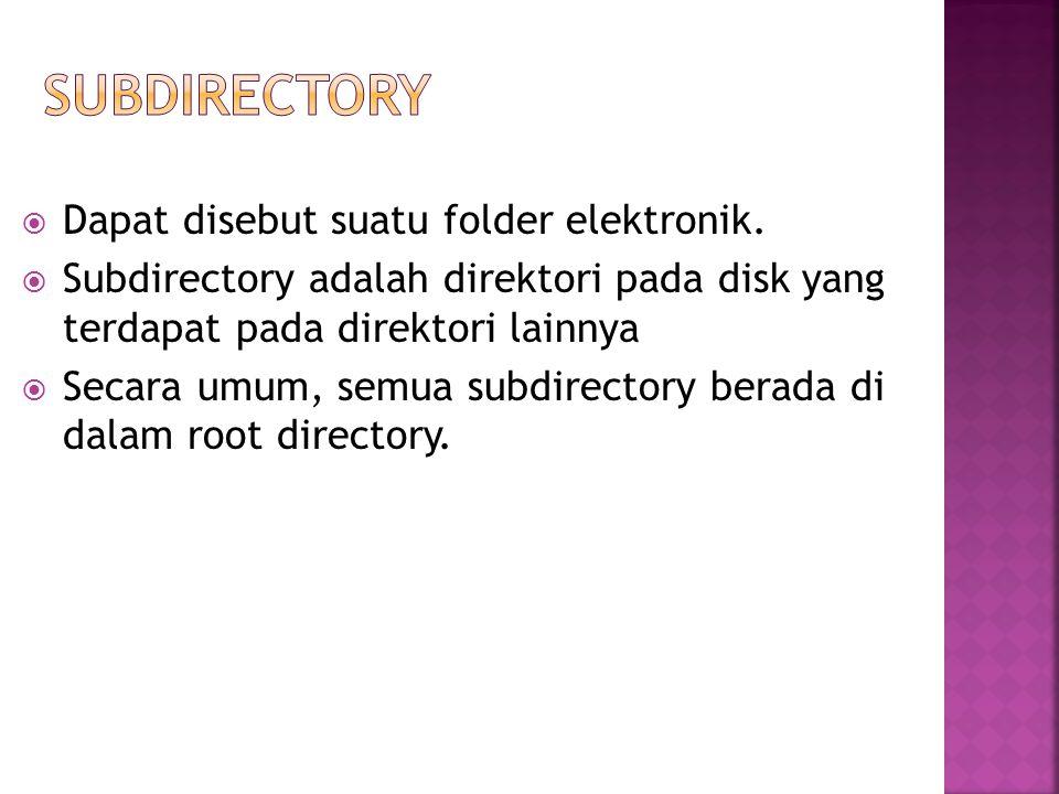 Subdirectory Dapat disebut suatu folder elektronik.
