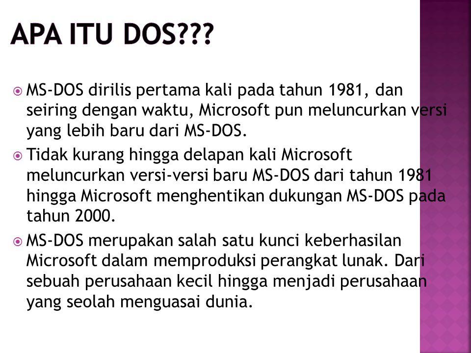 Apa itu dos MS-DOS dirilis pertama kali pada tahun 1981, dan seiring dengan waktu, Microsoft pun meluncurkan versi yang lebih baru dari MS-DOS.