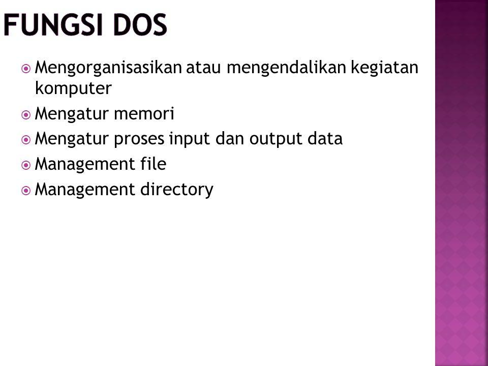 Fungsi DOS Mengorganisasikan atau mengendalikan kegiatan komputer