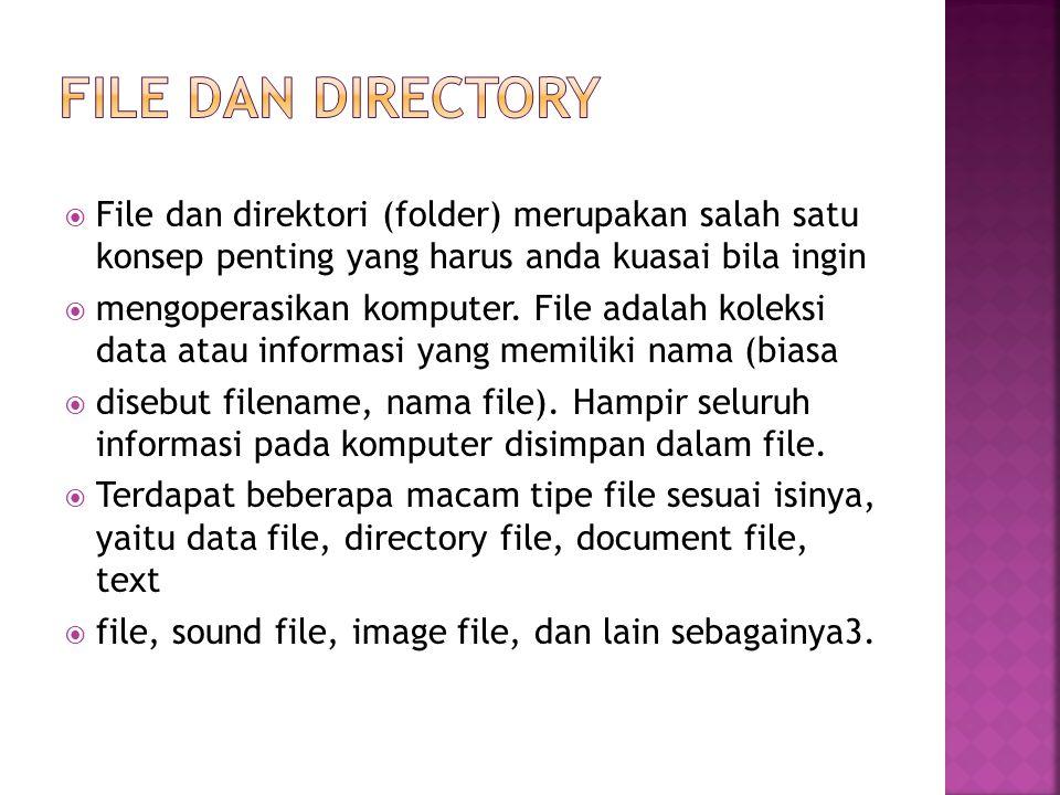 File dan directory File dan direktori (folder) merupakan salah satu konsep penting yang harus anda kuasai bila ingin.