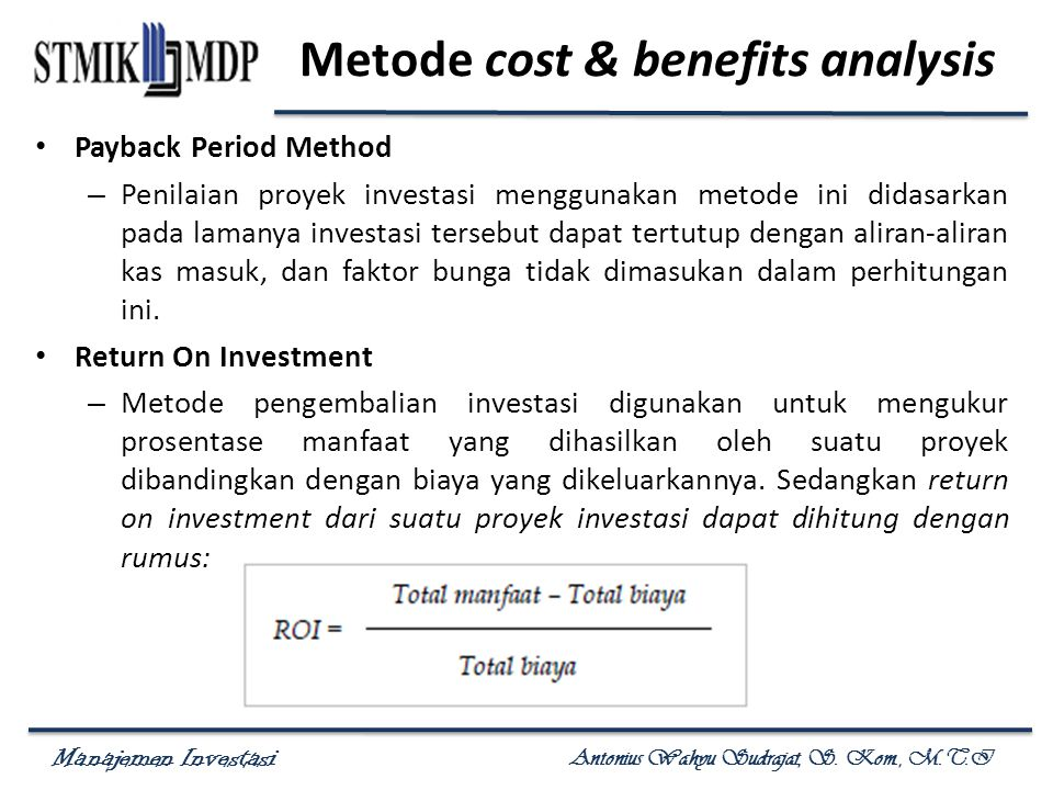 Metode cost & benefits analysis