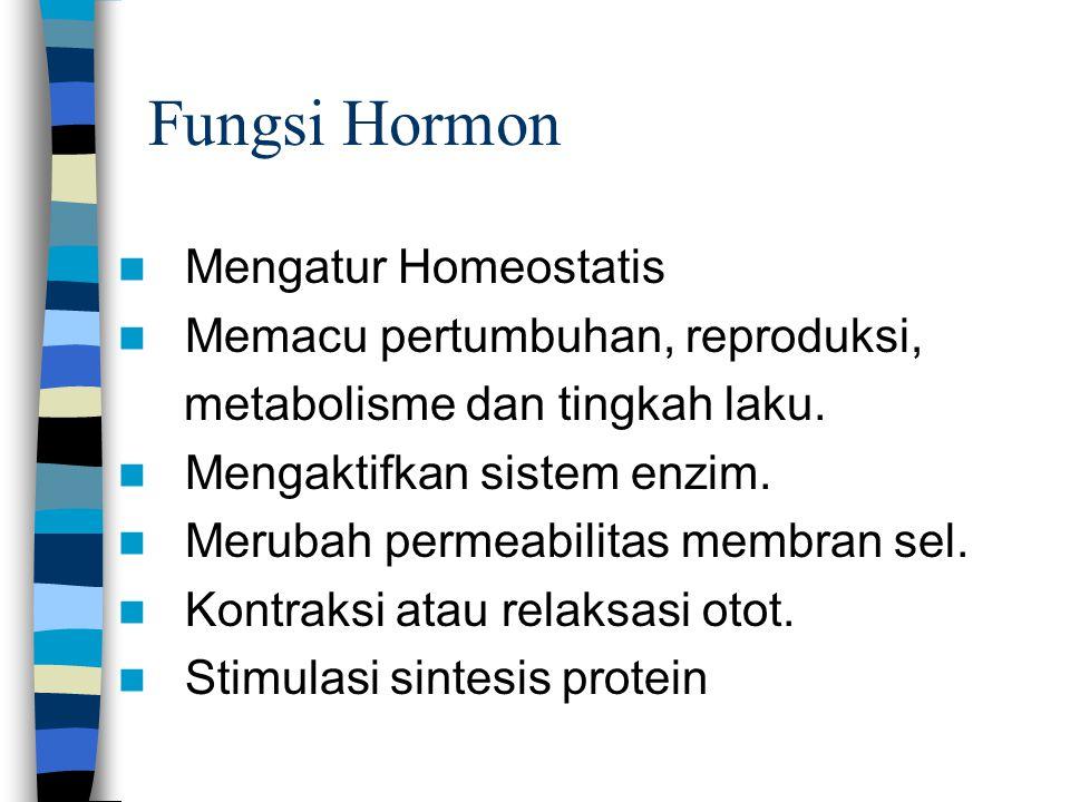 Fungsi Hormon Mengatur Homeostatis Memacu pertumbuhan, reproduksi,