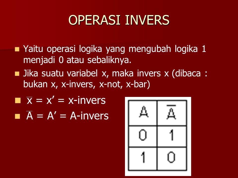 OPERASI INVERS x = x' = x-invers A = A' = A-invers