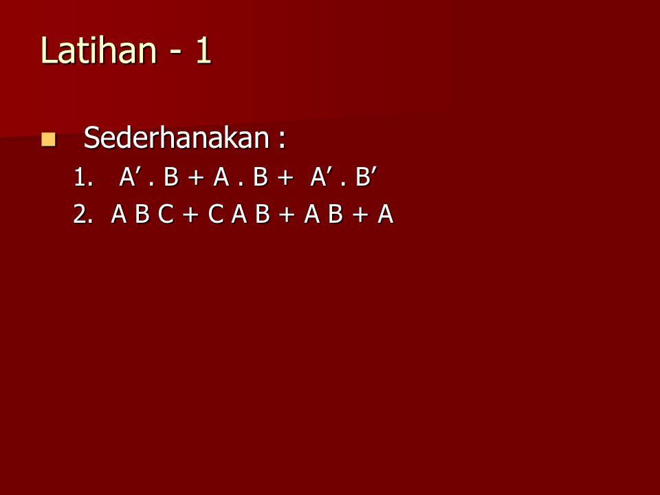 Latihan - 1 Sederhanakan : A' . B + A . B + A' . B'
