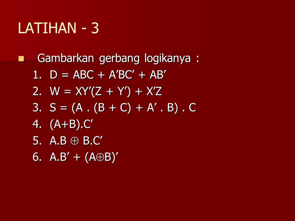 LATIHAN - 3 Gambarkan gerbang logikanya : D = ABC + A'BC' + AB'