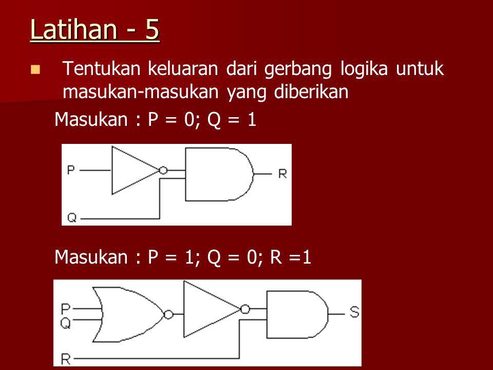 Latihan - 5 Tentukan keluaran dari gerbang logika untuk masukan-masukan yang diberikan. Masukan : P = 0; Q = 1.