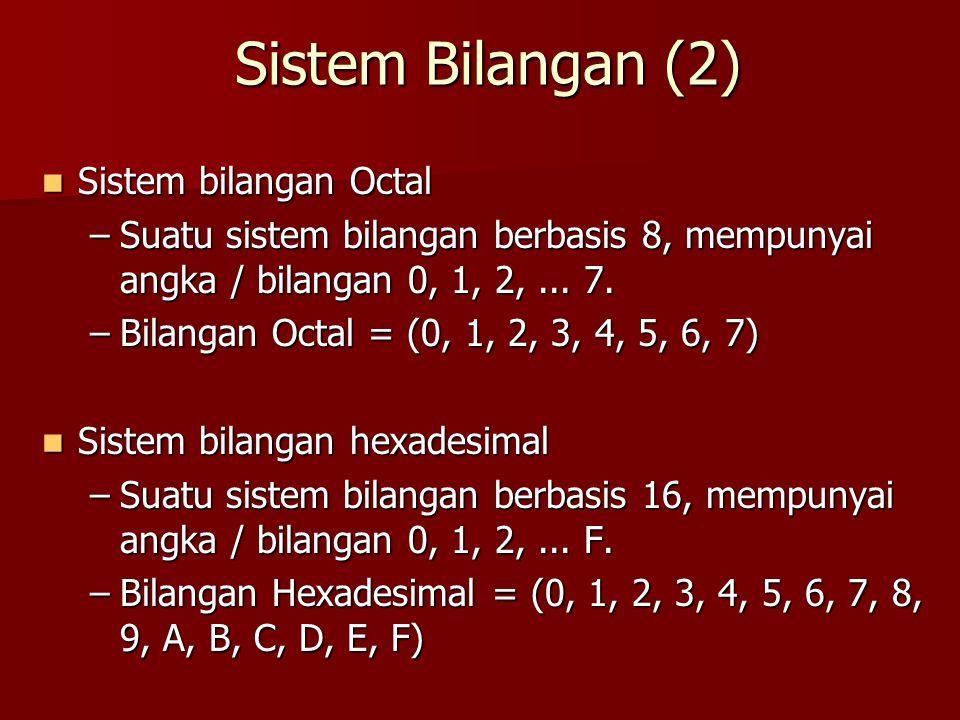 Sistem Bilangan (2) Sistem bilangan Octal