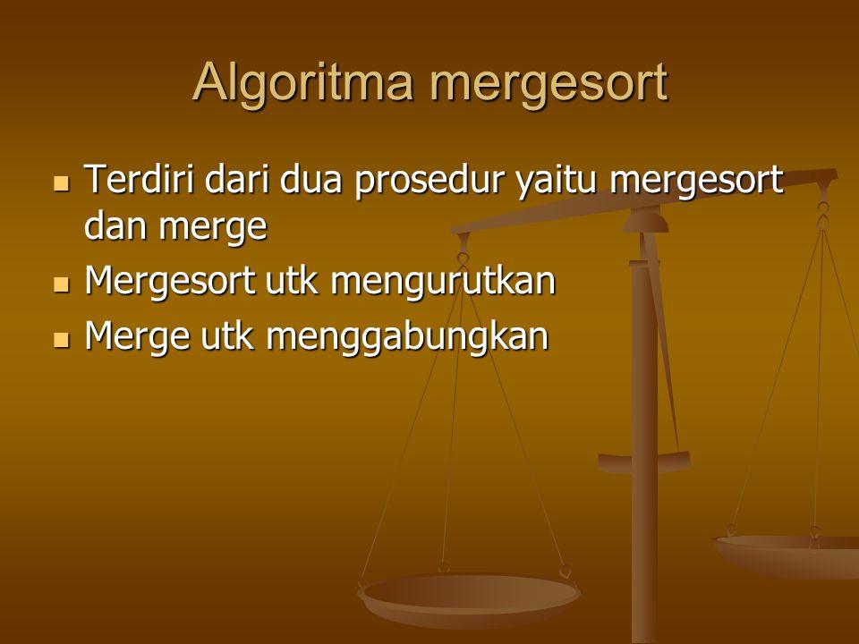 Algoritma mergesort Terdiri dari dua prosedur yaitu mergesort dan merge. Mergesort utk mengurutkan.