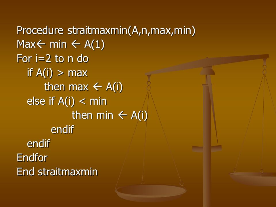 Procedure straitmaxmin(A,n,max,min)