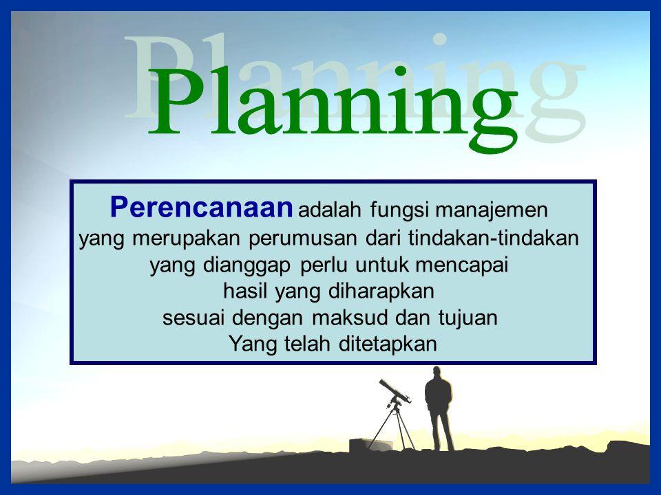 Planning Perencanaan adalah fungsi manajemen