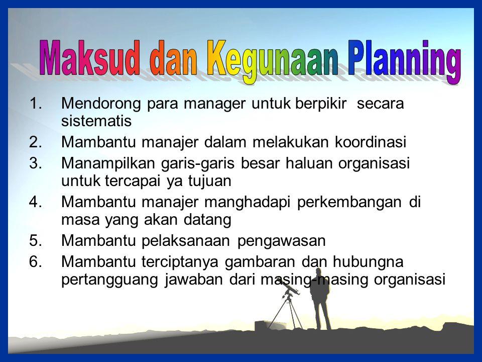 Maksud dan Kegunaan Planning