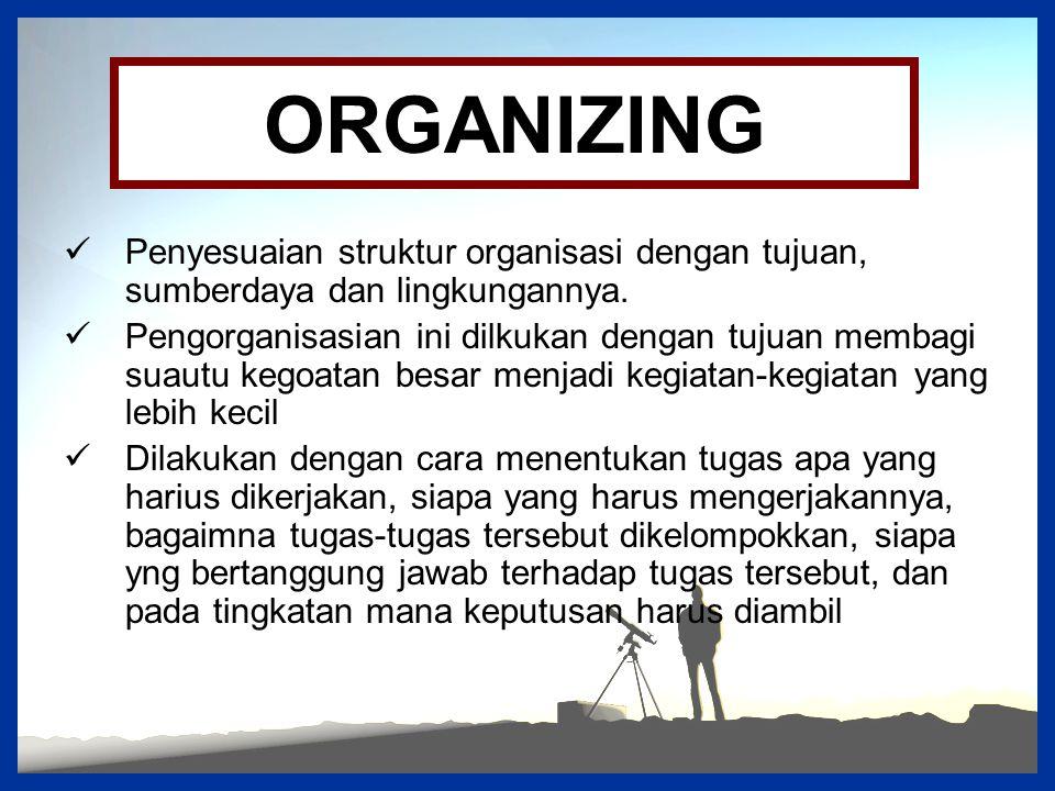 ORGANIZING Penyesuaian struktur organisasi dengan tujuan, sumberdaya dan lingkungannya.