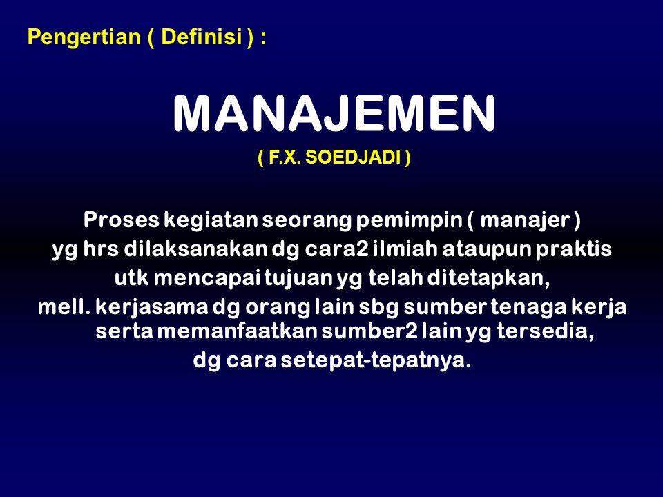 MANAJEMEN Pengertian ( Definisi ) :