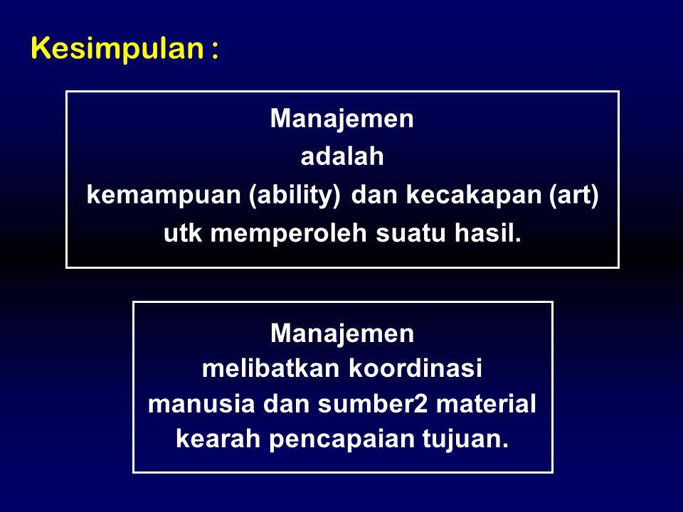 Kesimpulan : Manajemen adalah kemampuan (ability) dan kecakapan (art)