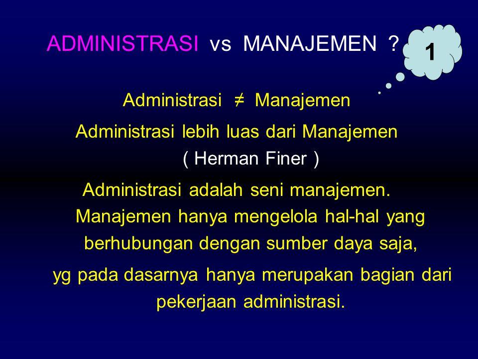 1 ADMINISTRASI vs MANAJEMEN Administrasi ≠ Manajemen