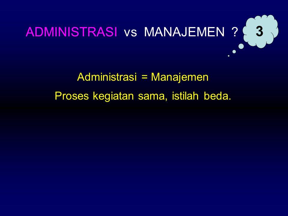 3 ADMINISTRASI vs MANAJEMEN Administrasi = Manajemen