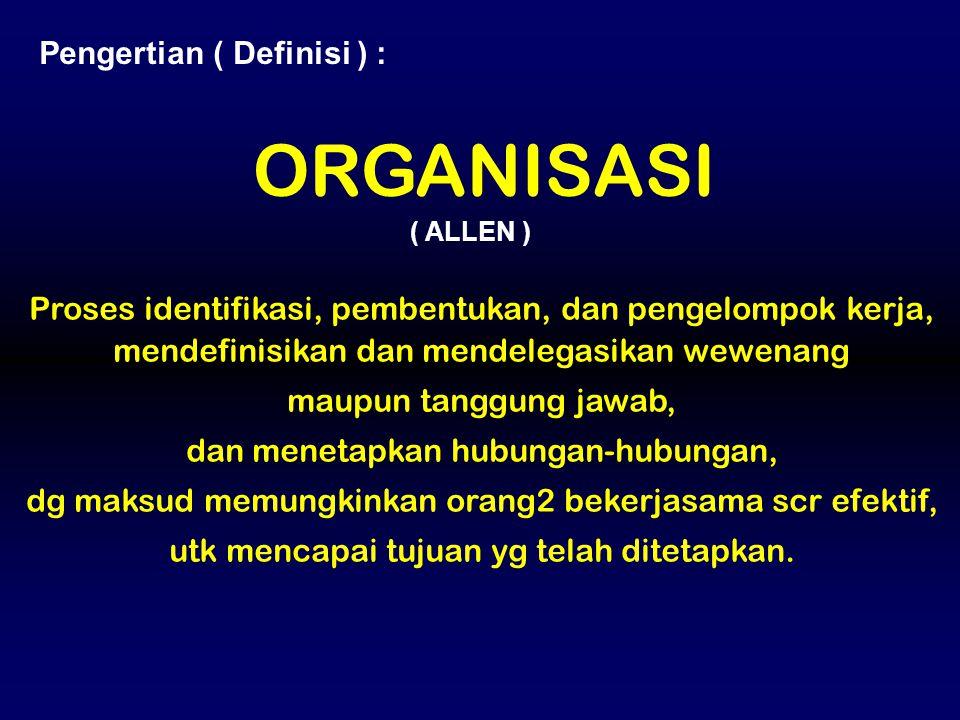 ORGANISASI Pengertian ( Definisi ) :