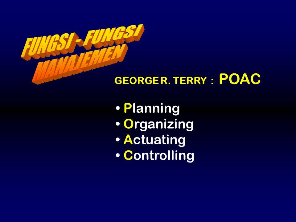 FUNGSI - FUNGSI MANAJEMEN Planning Organizing Actuating Controlling