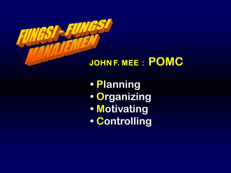 FUNGSI - FUNGSI MANAJEMEN Planning Organizing Motivating Controlling