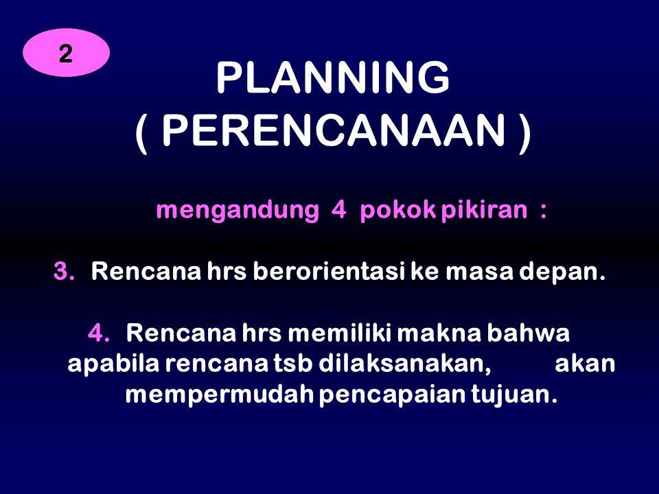 mengandung 4 pokok pikiran : Rencana hrs berorientasi ke masa depan.