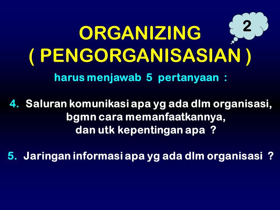 ORGANIZING ( PENGORGANISASIAN ) 2 harus menjawab 5 pertanyaan :