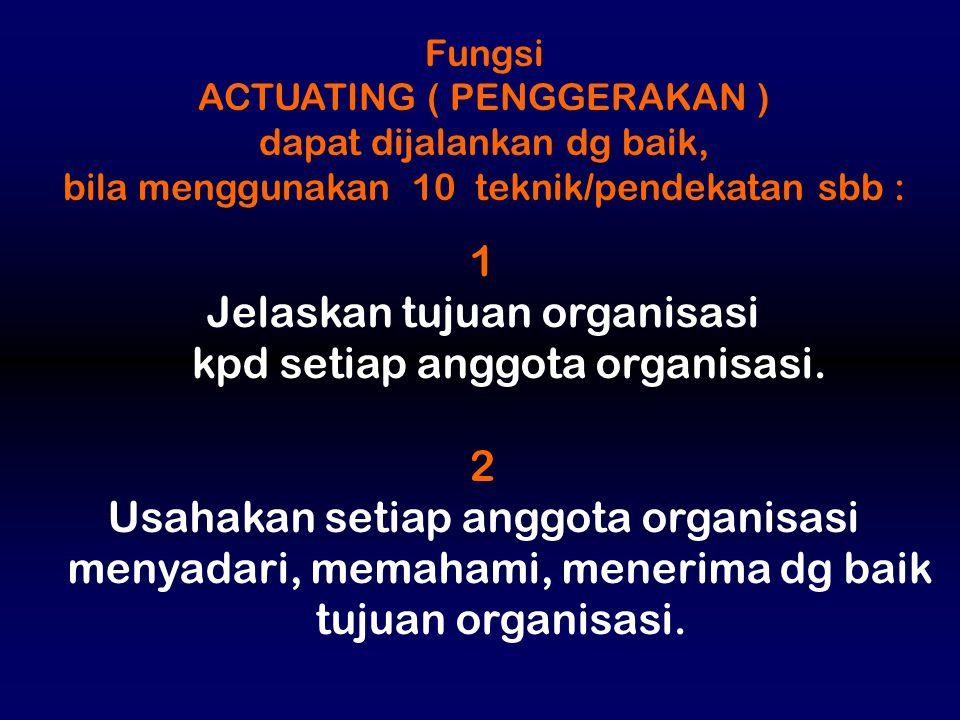Jelaskan tujuan organisasi kpd setiap anggota organisasi. 2