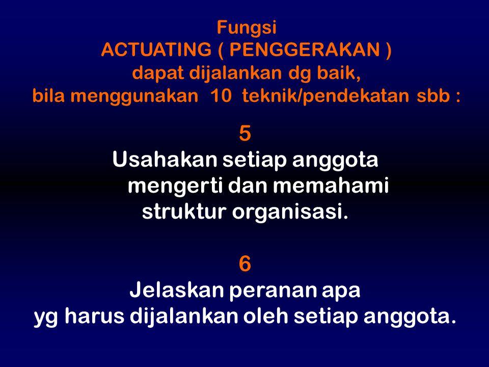 Usahakan setiap anggota mengerti dan memahami struktur organisasi. 6