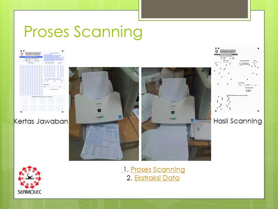 Proses Scanning Kertas Jawaban Hasil Scanning 1. Proses Scanning