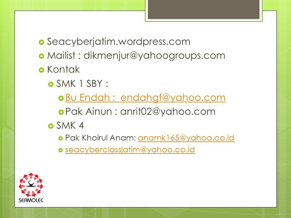 Mailist : dikmenjur@yahoogroups.com Kontak SMK 1 SBY :
