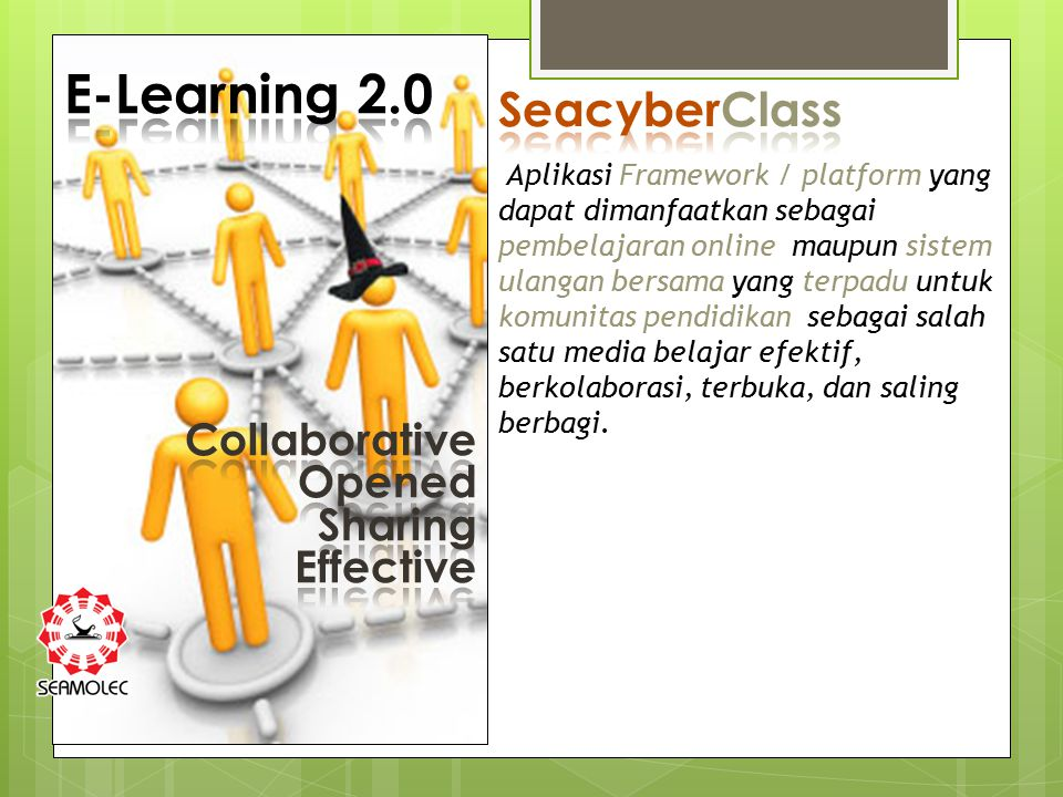 E-Learning 2.0 SeacyberClass Collaborative Opened Sharing Effective