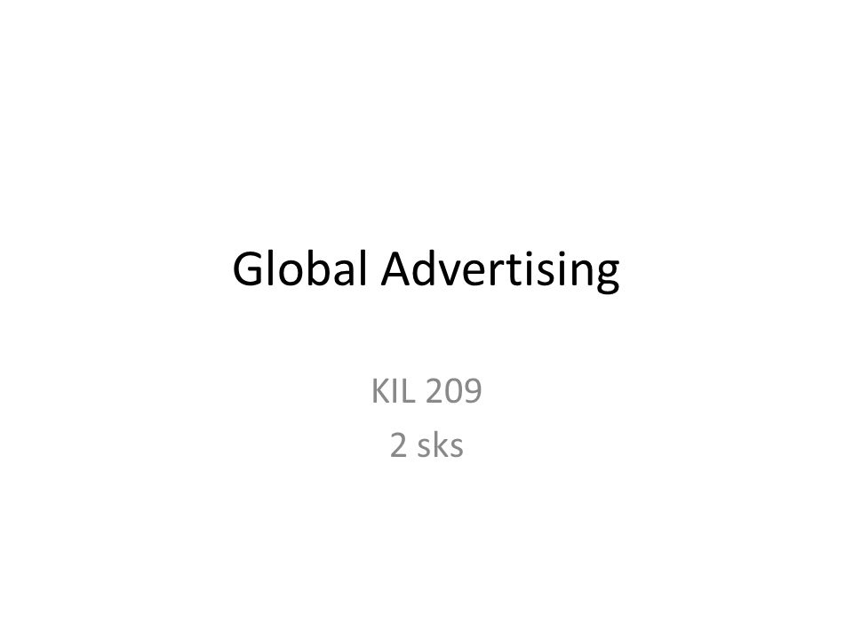 Global Advertising KIL 209 2 sks