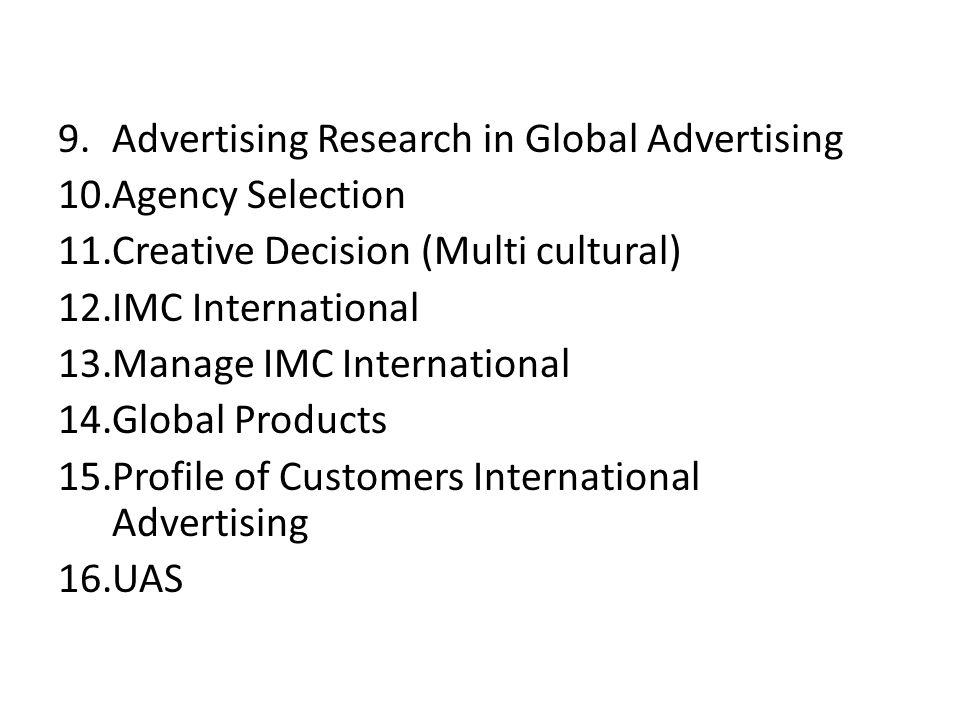 Advertising Research in Global Advertising
