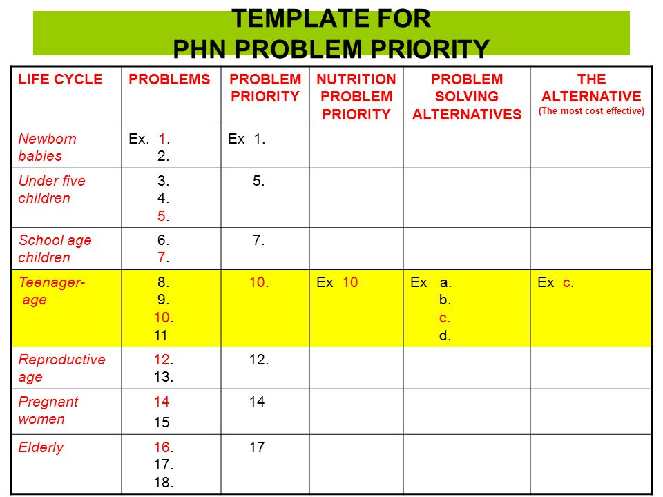 TEMPLATE FOR PHN PROBLEM PRIORITY