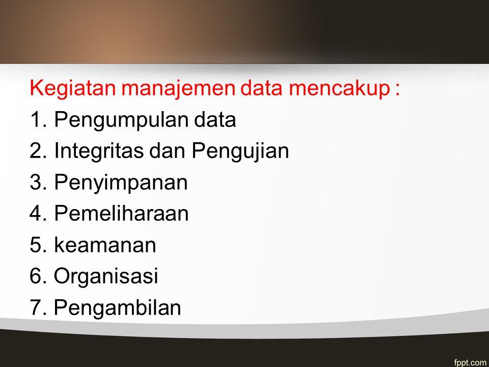 Kegiatan manajemen data mencakup :