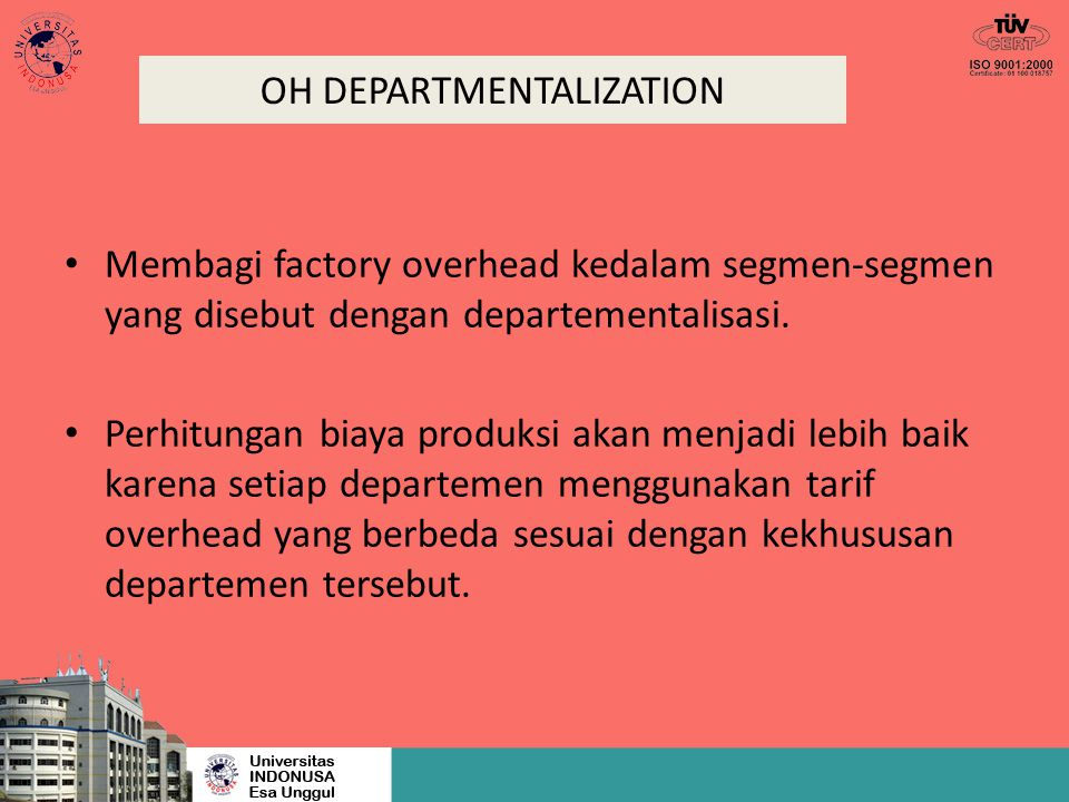 OH DEPARTMENTALIZATION