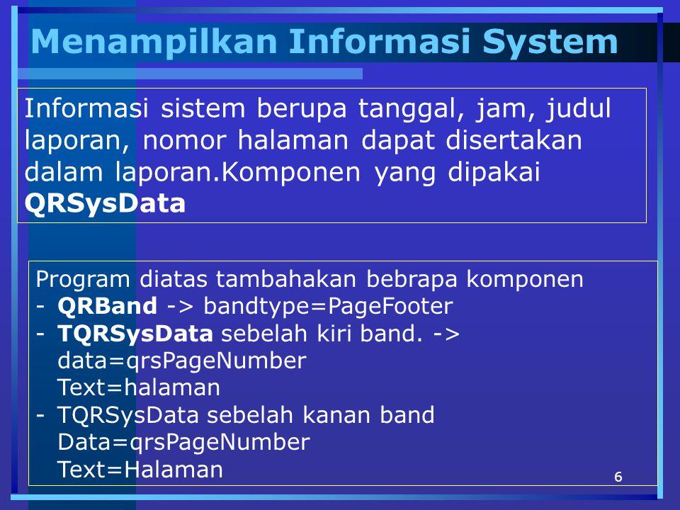 Menampilkan Informasi System
