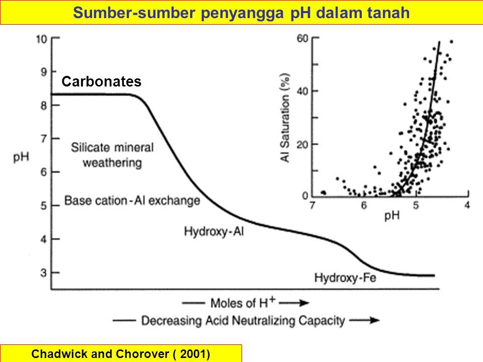Sumber-sumber penyangga pH dalam tanah Chadwick and Chorover ( 2001)