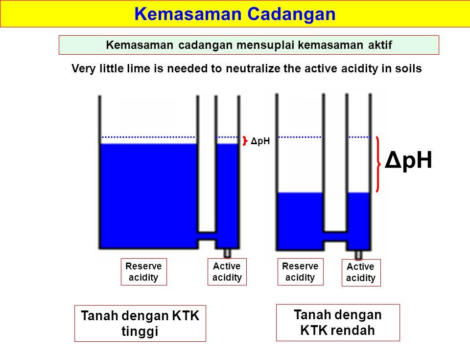 ΔpH Kemasaman Cadangan Tanah dengan KTK tinggi Tanah dengan KTK rendah
