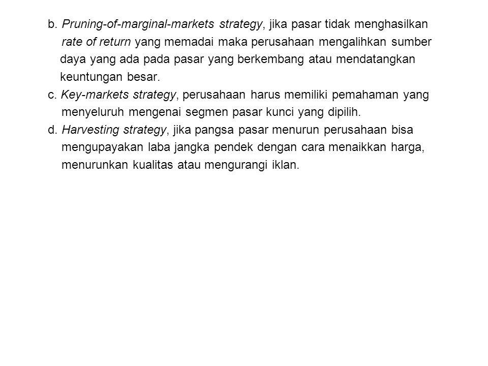 b. Pruning-of-marginal-markets strategy, jika pasar tidak menghasilkan