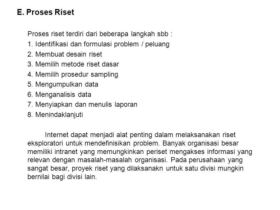 E. Proses Riset Proses riset terdiri dari beberapa langkah sbb :