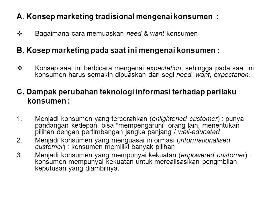 A. Konsep marketing tradisional mengenai konsumen :