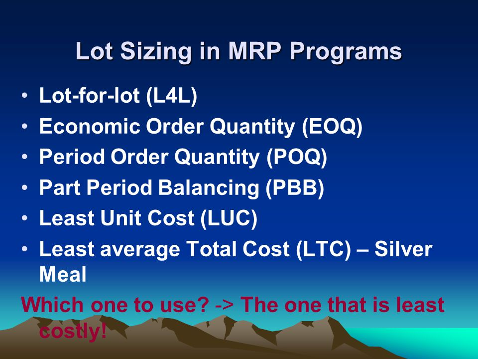 Lot Sizing in MRP Programs