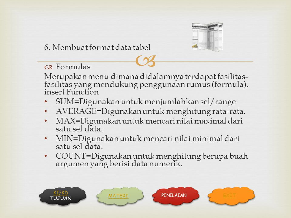 6. Membuat format data tabel Formulas