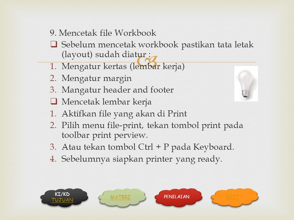 9. Mencetak file Workbook