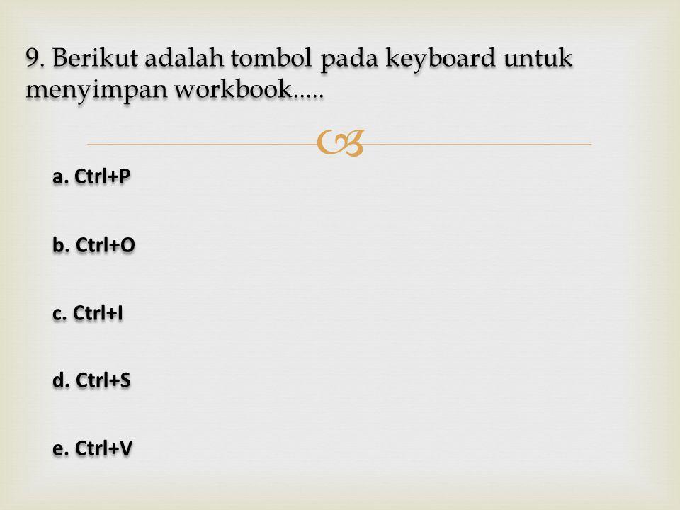 9. Berikut adalah tombol pada keyboard untuk menyimpan workbook.....