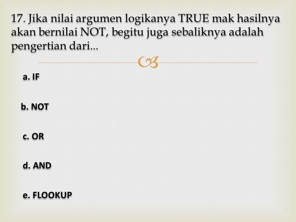 17. Jika nilai argumen logikanya TRUE mak hasilnya akan bernilai NOT, begitu juga sebaliknya adalah pengertian dari...